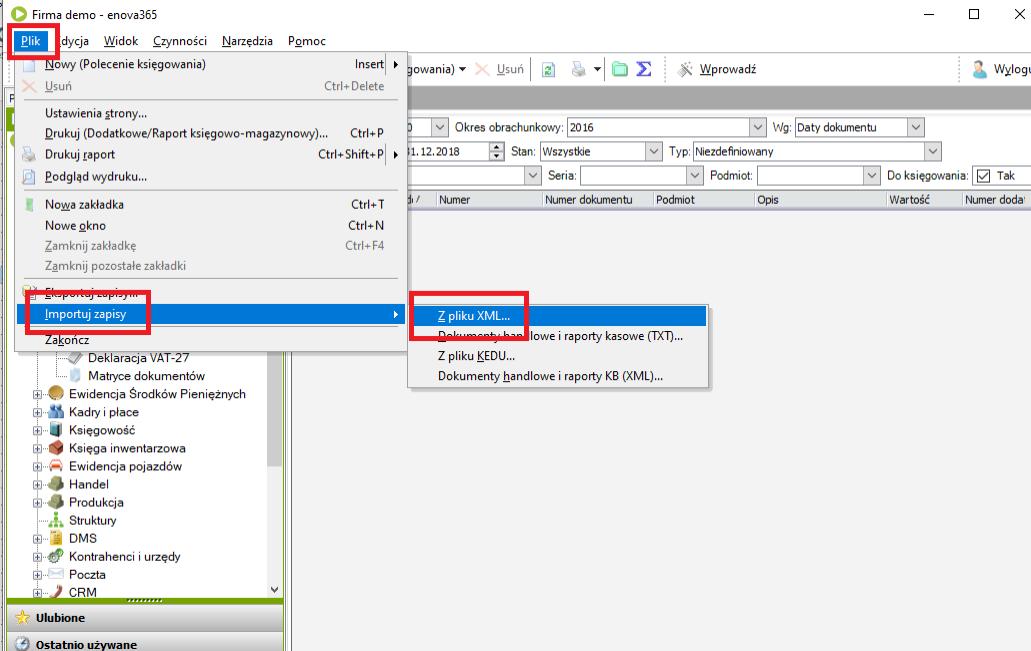 importowanie faktur w enova365