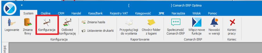 Wybór opcji konfiguracji w Optimie