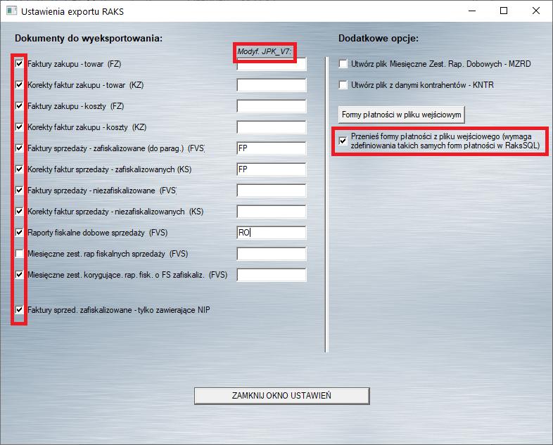 konfiguracja konwertera dla RaksSQL