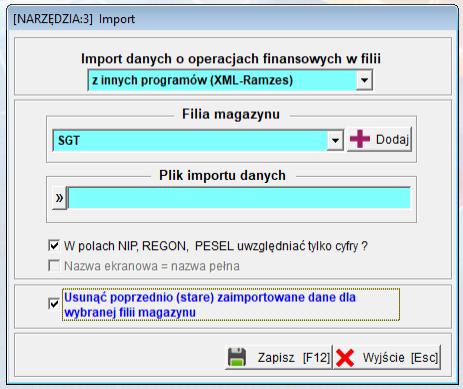 import z innych programów format xml-ramzes