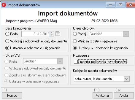 okno z ustawieniami importu