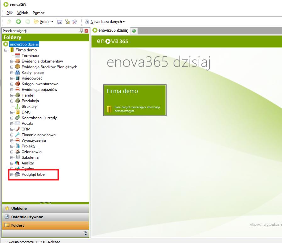 enova365 - podgląd tabel