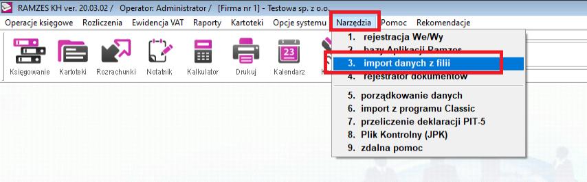 import danych z filii w ramzesie