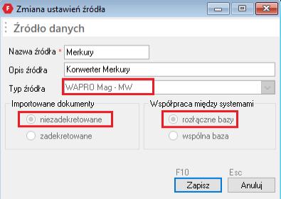 wybór opcji rozłącznych baz danych